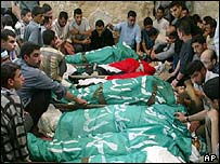Bodies at the Gaza funeral