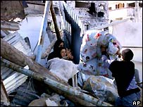 Home destroyed in the Khan Younis refugee camp