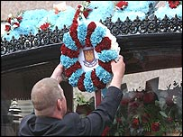 West Ham floral tribute at Michael Little's funeral