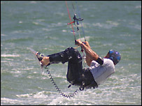 A kite surfer