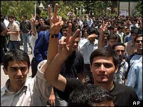 Tehran demonstrators flash victory signs this week