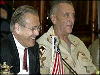 US Secretary of Defence Donald Rumsfeld (left) and US military commander General Tommy Franks