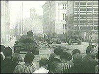 Soviet tanks in the street