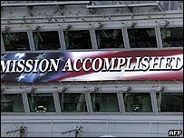 Banner on USS Abraham Lincoln saying