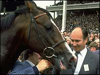 Shergar and his owner, the Aga Khan