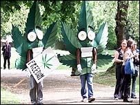 Cannabis protesters at the march in 2003