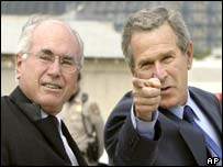 Australian and US leaders John Howard and George W Bush