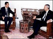 Syrian President Bashar al-Assad (left) and US Secretary of State Colin Powell, in Damascus, 3 May 2003