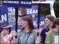 Supporters of Howard Dean outside ABC news studio where debate was held