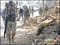 American soldiers on patrol in Baghdad