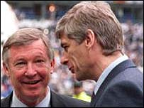 Manchester United boss Sir Alex Ferguson (left) and Arsenal boss Arsene Wenger