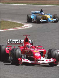 Michael Schumacher leads the Renault of Fernando Alonso during the Spanish Grand Prix