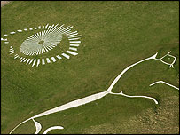 Photograph by Michelle Sadgrove: Big Brother logo next to Uffington White Horse