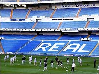 Manchester United training session at the Bernabeu Stadium