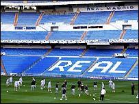 Manchester United training session at the Bernabeu Stadium