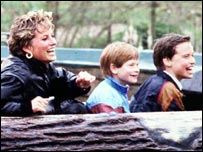 Princess Diana with her sons at Thorpe Park