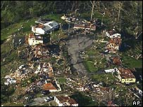 Damaged homes near Kansas City