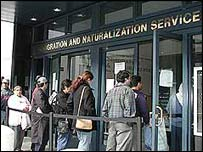 People queue in front of INS office in San Francisco