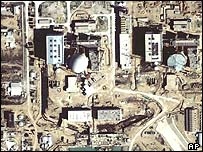 Satellite image from January 2002 shows progress on both reactors of the Bushehr power station
