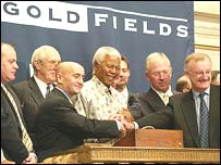 Nelson Mandela helps launch Gold Fields on the New York Stock Exchange