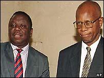 Morgan Tsvangirai (l) and Justice Minister Patrick Chinamasa (r)