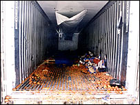 The interior of the lorry where the immigrants died