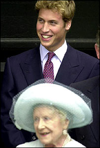 Prince William and his great grandmother, the Queen Mother, in 2001