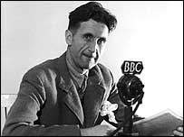 George Orwell in front of a BBC microphone.