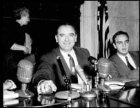 Senator Joseph McCarthy at Senate hearings, l953