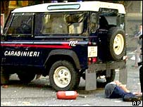 Carlo Giuliani after being shot by Italian paramilitary police