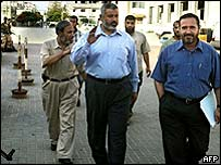 Senior Hamas delegates arrive for a meeting with Palestinian Prime Minister Mahmoud Abbas in Gaza City 18 June 2003