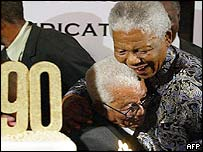 South African President Nelson Mandela (right) hugs Walter Sisulu at the ANC's veteran 90th birthday party in 2002.