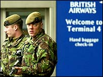 British Army soldiers at Heathrow Airport after terror alert