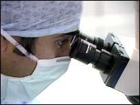 Researcher using microscope
