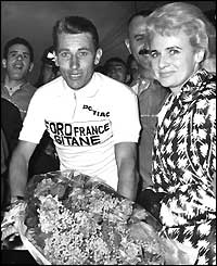Jacques Anquetil after the Paris-Nice race