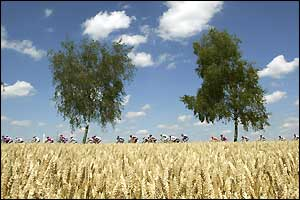 The riders file through the countryside in Germany on stage two of the 2002 race