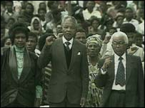 Walter Sisulu with Winnie and Nelson Mandela