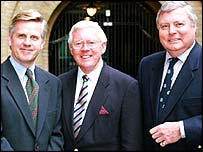 The BBC golf team: Steve Rider, Alex Hay and Peter Alliss