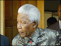 Nelson Mandela outside Sisulu's home