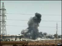 Bombs falling near Um Qsr