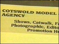 Yellow Pages advert for the Cotswold Model Agency