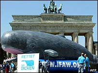 Giant inflatable whale outside Berlin's Brandenburg Gate