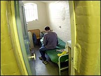 Prisoner in a jail cell
