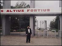 Rabbi Herschel Gluck in front of the main entrance to the Grodno football stadium