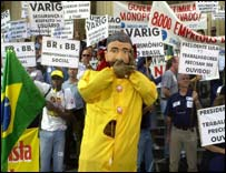 Workers demonstrating against merger of Varig, Brazil's national airline