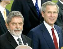 President Lula of Brazil and George W Bush at Evian Summit