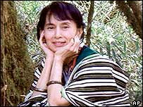 Aung San Suu Kyi dressed in Chin minority costume during a visit to Chin state, April 2003