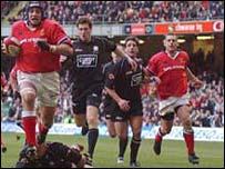 Munster in action against Neath at the Millennium Stadium