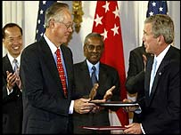 Singapore's prime minister Goh Chok Tong and US President George W Bush