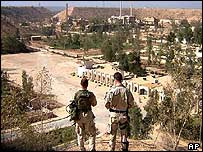 US troops look down on the facility at al Tuwaitha